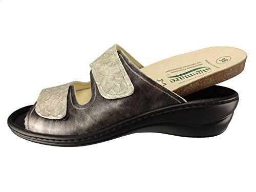 Algemare Damen Pantolette Smoke Nappino Kroko Keilpantolette mit Algen-Kork Wechselfußbett Made in Germany 1447_2618, Größe:38