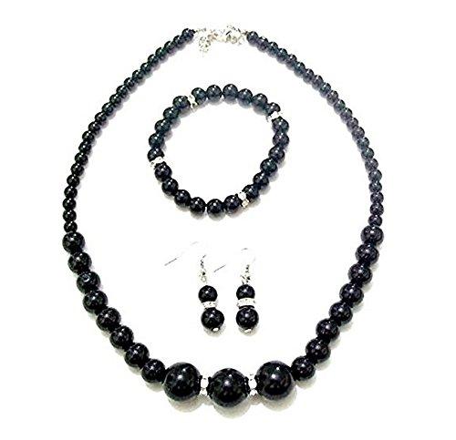 Black Pearl Bead Crystal Diamante Necklace Earrings Set Stretch Flex Bracelet Bridesmaid Jewelry for Women Girls fashionjewellery4u