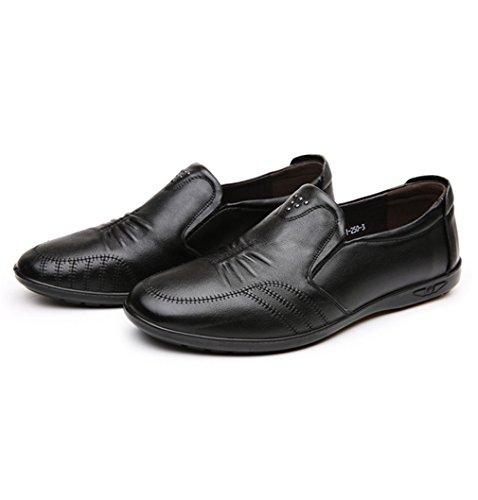 Hommes Chaussures Mocassins en Cuir Souple Cire Couture Respirent Bout Rond Basse Plat Léger Respirent Loisir Derby Noir IfijmjpOl