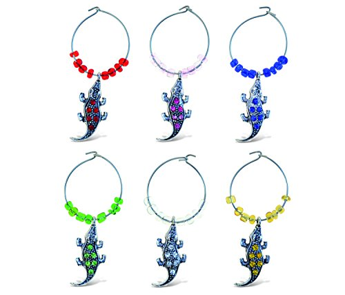 Puzzled Metal Alligator Wine Charms (Set of 6)