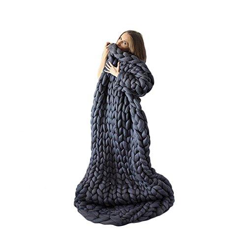 incarpo Chunky Knit Blanket Handwoven Wool Yarn Knitting Throw Bed Sofa Super Warm Home Decor Dark Grey ()