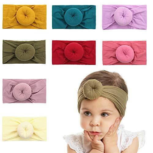 Makone Handmade Baby Girls Nylon Headband and Bows Pom Pom Round Knot Bun Turban Headband Head Warp for Infant Baby Girls-style1 ()