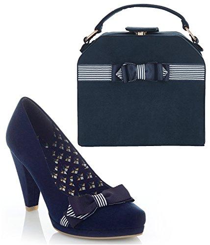 Ruby Shoo Women's Susanna Court Shoe Pumps and Matching Tampa Bag Navy