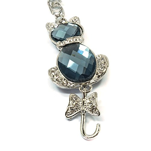 Teri's Boutique Cat Kitty Love Animal Cute Ribbon Tail Rhinestone Jewel Keychain (Silver) by Teri's Boutique (Image #1)