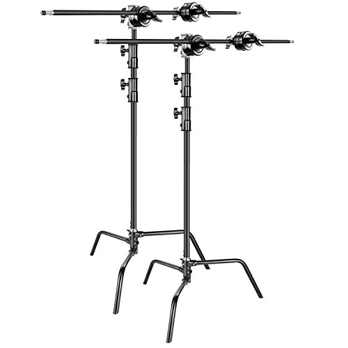 Neewer 2-pack Heavy Duty Light Stand C-Stand - Max. 10 feet/3 meters Adjustable with 3.5 feet Holding Arm and Grip Head for Studio Video Reflector, Monolight and Other Photographic Equipment (Black) by Neewer