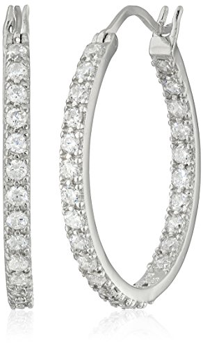 Platinum-Plated 925 Sterling Silver Round-Cut AAA Cubic Zirconia Hoop Earrings (.9
