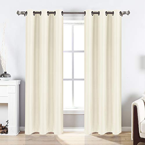 Valea Home Blackout Curtains Grommet Faux Silk Satin Room Darkening Curtain Drapes for Bedroom, 38x 63 inches, 2 Panel, Ivory