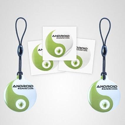 Androidbands Topaz NFC Tags - Paquete de 2 llaveros y 3 etiquetas para smartphones NFC