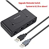GameCube Adapter, GameCube Controller Adapter Switch with Turbo and Home Buttons, Wii U GameCube Controller Adapter Switch for Switch/Wii U & PC with 4 Slots, Switch GameCube Controller Adapter withou