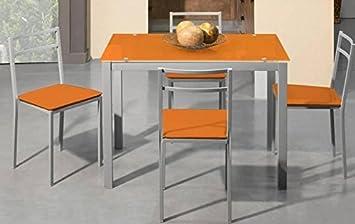 Momma Conjunto Mesa Cocina Extensible y 4 Sillas Bisbe 2 Naranja ...