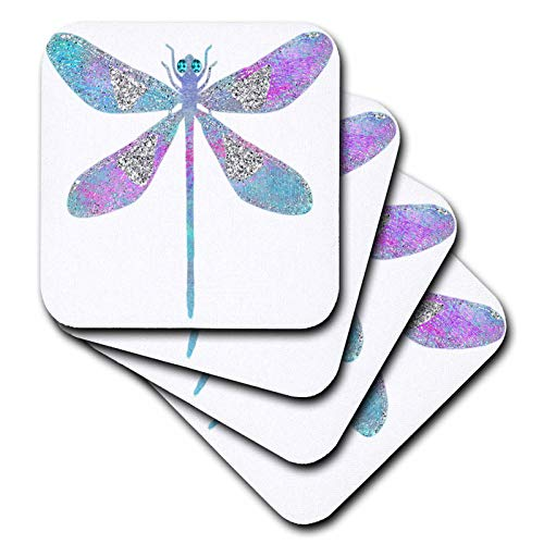 3dRose Anne Marie Baugh - Design - Pink, Blue, and Image Of Silver Glitter Dragonfly Illustration - set of 4 Ceramic Tile Coasters (cst_316297_3) ()