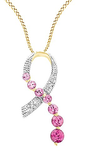 - Jewel Zone US Simulated Pink Sapphire Breast Cancer Symbol Pendant in 10K Solid Yellow Gold