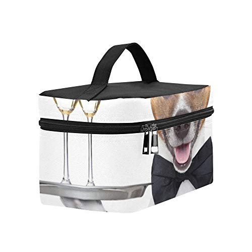 Dog Toasting New Years Eve Champagne Lunch Box Tote Bag Lunch Holder Insulated Lunch Cooler Bag For Women/men/picnic/boating/beach/fishing/school/work