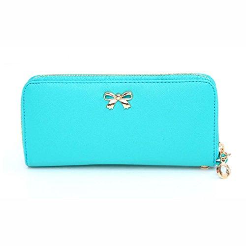 Aokdis (TM) Hot Selling Women Korean Portable Bowknot Purse Solid Wearable Wallet Handbag (light blue)