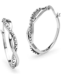 Sterling Silver Round Infinity Diamond Accent Round 25mm Hoop Earrings, IJ-I3