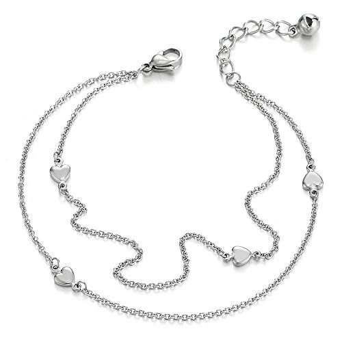 COOLSTEELANDBEYOND Steel Two-Row Link Chain Anklet Bracelet with Charms of Puff Hearts and Jingle Bell, Adjustable