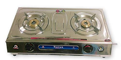 Full Stainless Steel Body 2 Brass Burner Gas Stove
