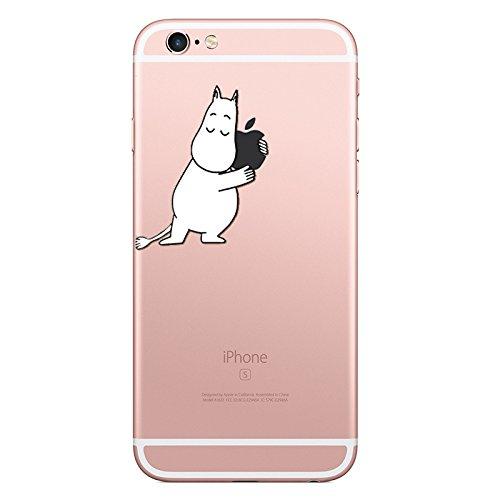 望遠鏡データム遠足Little merry iPhone6 iPhone6s ムーミン アップルマーク ハグ ケース カバー シンプル かわいい TPU ソフトケース ストラップホール付き (iPhone6 / iPhone6s)