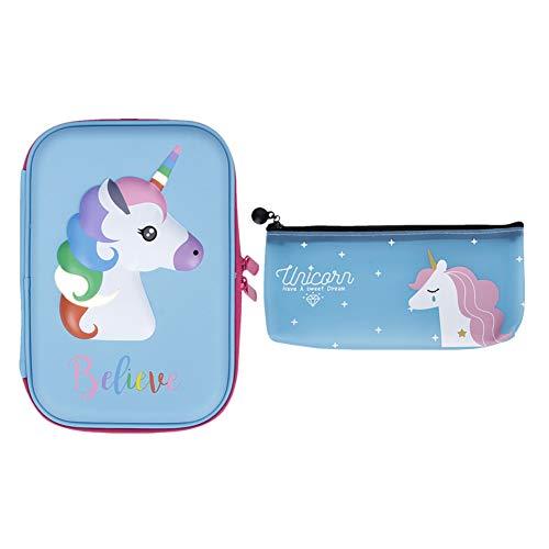 Beautymei 2 Pack Pencil Case EVA Pen Pouch Stationery Box Bag Anti-Shock for School Students Girls Teens KidsAdults (Blue + Blue) by Beautymei