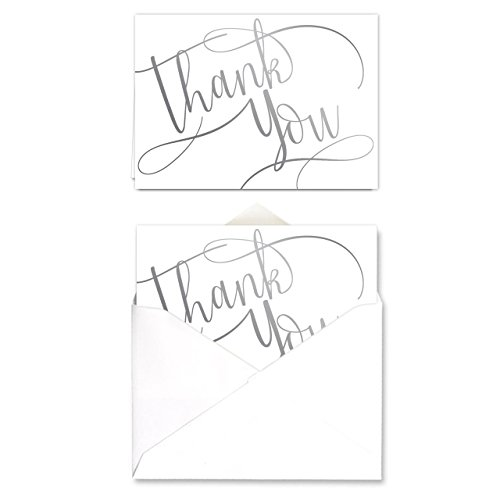 Silver Foil Thank You Note Card Pack - Set of 50 cards, blank inside - with envelopes (Silver Card Wedding)