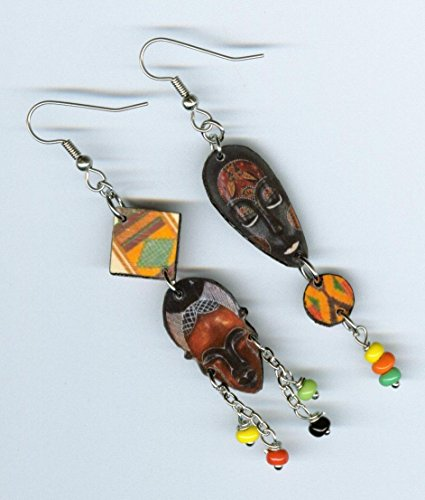 African Mask earrings Kente Cloth ethnic tribal jewelry