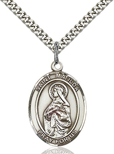 bliss Sterling Silver Saint Matilda Medal Pendant, 1 Inch