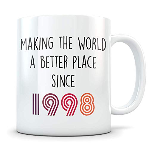 Funny 21st Birthday Gift for Women and Men - 1998 Turning 21 Years Old Happy Bday Coffee Mug - Gag Party Cup Idea for a Joke Celebration - Best Adult Birthday Presents ()