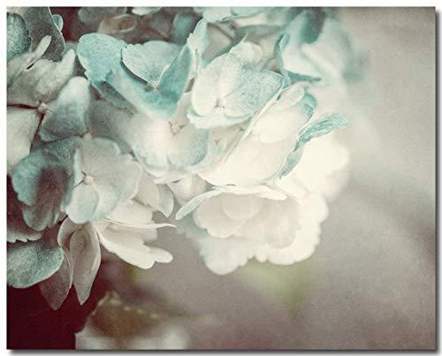 "Shabby Chic Cottage Decor Unframed 8x10"" Hydrangea Print in Teal Aqua Turquoise Cream"