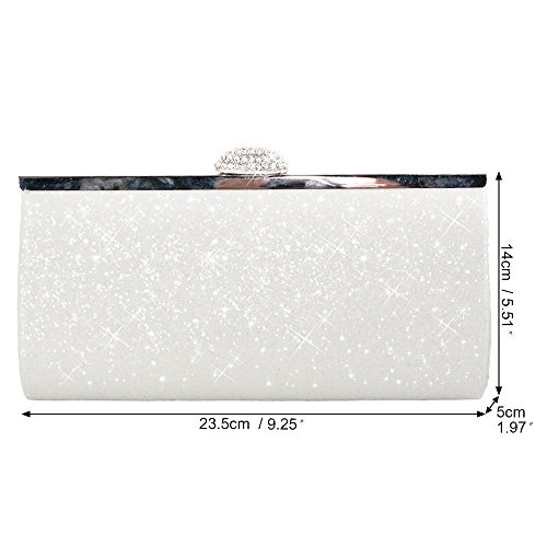 Silver Cckuu Evening White Clutch Elegant Wedding Chain Glitter Bag Ladies Shoulder HandBags UvqwHrU