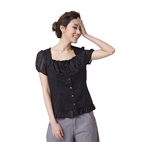 WHTCE Camiseta Para Mujer Mangas Cortas Sin Arrugas Clásico Generoso De Secado Rápido Elasticidad Noble Protección Del Medio Ambiente Black