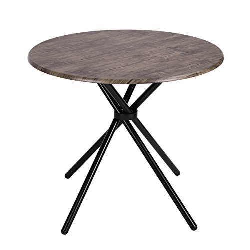 Kitchen Dining Table Industrial Brown Round Mid-Century Wood Coffee Table Office Home Easy-Assembly 35.4×35.4×29.5 Inches for for Living Drawing Receiving Room