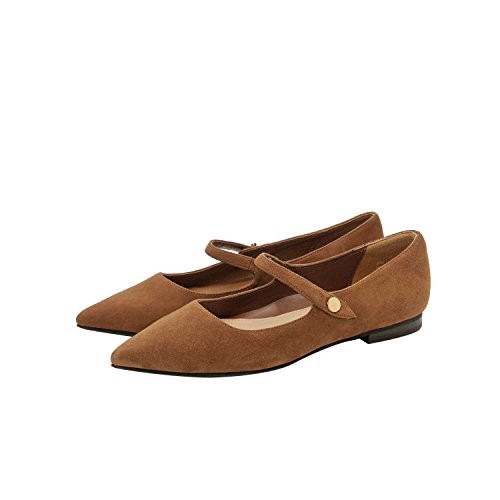 Insole Pointy Jane Comfortable Support Flat Ballet Mary Luci Arch Toe Suede Toffee Padded new Fall AdwIa8