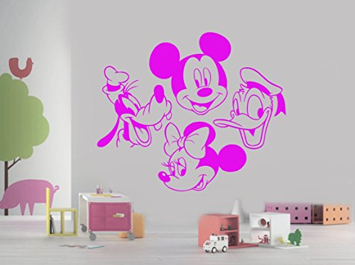 Mickey Mouse Minnie Goofy Donald Duck Head Disney Cartoon Characters for Kids Children Room Wall Window Birthday Party Decoration Vinyl Decal Sticker 18 Inches (Cheep Halloween Decorations)