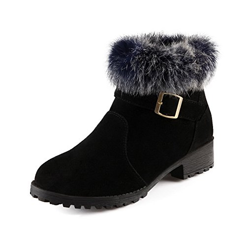 WeiPoot Women's Frosted Solid Closed-Toe Boots with Square Heels and Metal Buckles, Black, 34 ()