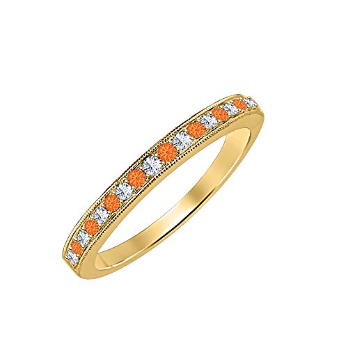 Round Cut Orange Sapphire & Diamond 14k Yellow Gold Over .925 Sterling Silver Wedding Band Ring for Women's