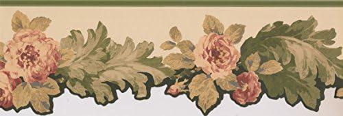 元のピンクの花のデザイン壁紙キッチンバスルームリビングルームロールのためのボーダー15 'x 8