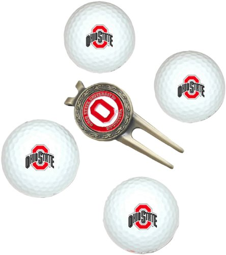 NCAA Ohio State Buckeyes 4 Golf Ball And Divot Tool (Ohio Golf Gear)