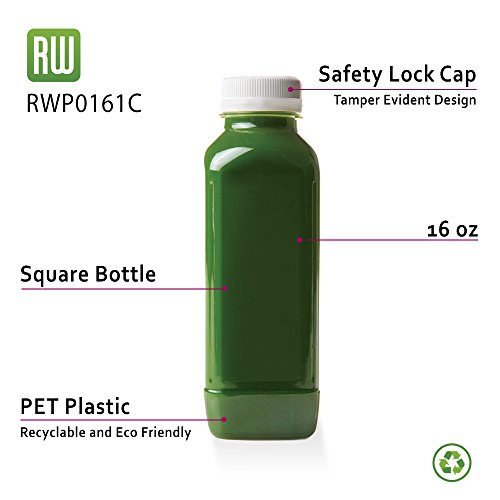 16-OZ Square Plastic Juice Bottles - Cold Pressed Clear Food Grade PET Bottles with Tamper Evident Safety Cap: Perfect for Juice Shops, Cafés and Catering Events - Disposable and Eco-Friendly – 100-CT by Restaurantware (Image #3)