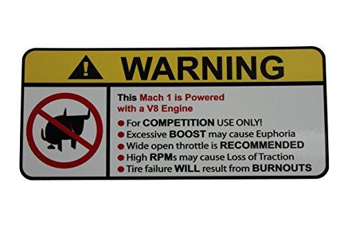 Mach 1 V8 No bull warning decal sticker