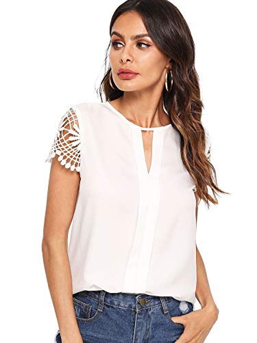 Floerns Women's Casual Round Neck Basic Pleated Top Cap Sleeve Curved Keyhole Back Blouse White X-Small ()