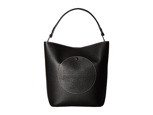 Tory Burch Perforated Logo Leather Hobo - Black