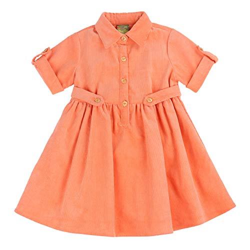 MARIA ELENA - Toddlers and Girls Corduroy Presley Harper Shirt Dress in Orange -