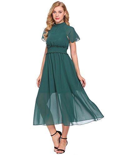 - ACEVOG Women's Halter Cap Sleeve Sheer Chiffon Waisted Cocktail Maxi Dress Dark Green XXL