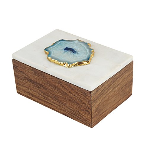 Artisanal Creations Marble and Teak Jewelry Box with Agate - Handcrafted Jewelry Organizer – Wooden Jewelry Box for Necklaces, Rings, Pendants, Trinkets