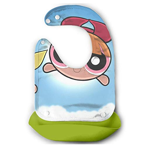 JINUNNU Baby Bib Lovely The Powerpuff Girls Waterproof Feeding Bibs for Babies and Toddlers with Food Catcher Pocket Green]()