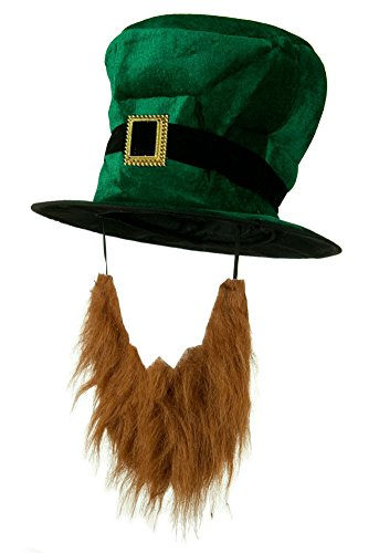 Lady Luck Costume Hat (Adult Plush Leprechaun Green Top Hat w/ Buckle Accent &)