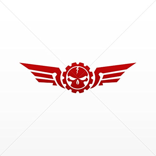 (Decal Stickers Skull with Military Wings Tablet Laptop Weath Red Dark (5 X 1.31 Inches))