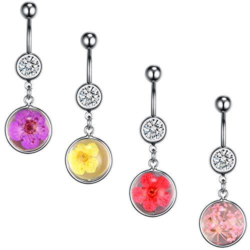 (BodyJ4You 4PC Belly Button Rings Dried Flowers Dangle Steel Bar 14G Women Navel Body Piercing)