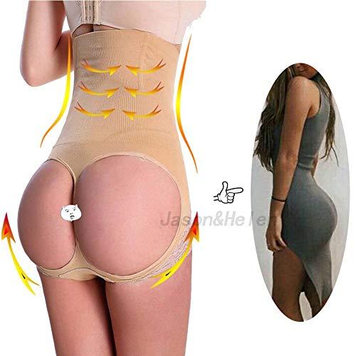 (Jason&Helen Women's Butt Lifter Shaper Seamless Tummy Control Hi-Waist Thigh Slimmer Apricot XL/2XL)