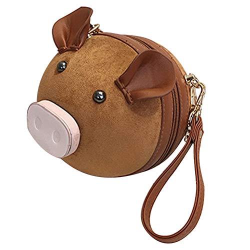 (lightclub Zipper Cute Pig Round Women's Casual Phone Pouch Small Chain Crossbody Bag Handbag Brown L)